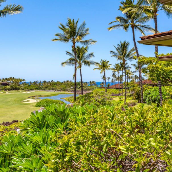 Second floor view of coconut trees and other tropical foliage, to Hualalai Golf Course, and ocean beyond.