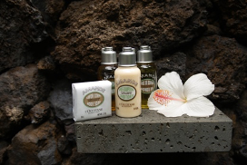 Soap and other bath amenities on lava rock shower shelf and white hibsicus